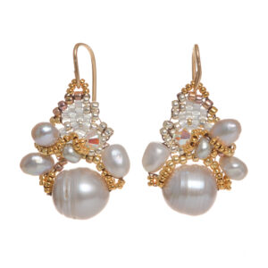 gray fresh water pearls and woven bead earrings