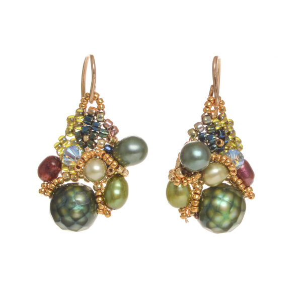 faceted emerald green pearl cluster earrings