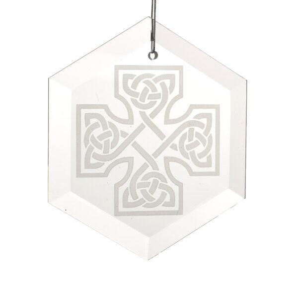 sandblasted glass Celtic Cross ornament