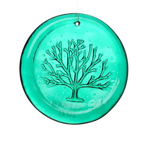 green glass round tree suncatcher, blenko glass, wv glass