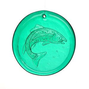 emerald green fish trout suncatcher, blenko glass, wv glass suncatcher