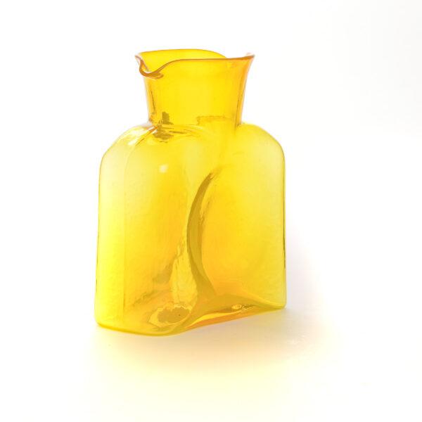 citrine yellow handmade glass water bottle by blenko glass of wv, glass production center