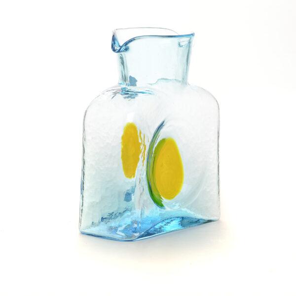 light blue handmade water bottle with yellow dot