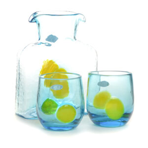 light blue glass water bottle with matching cups with yellow dots