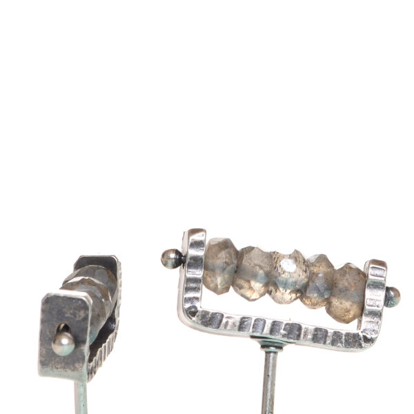 labradorite and silver handmade post earrings