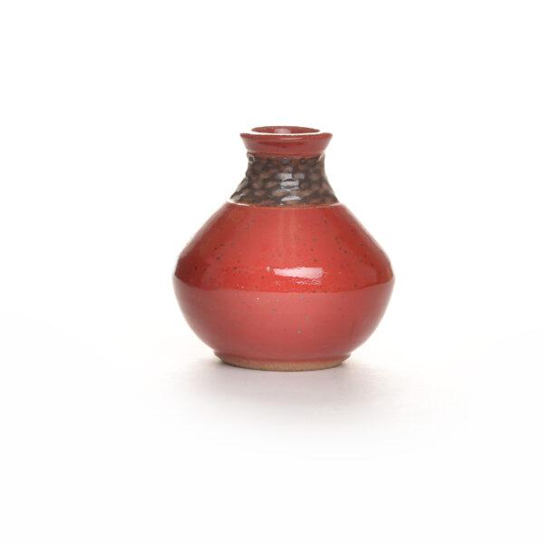RED SUNFLOWER HANDMADE CARVED BUD VASE