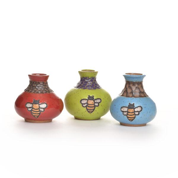 handmade carved ceramic bee bud vase
