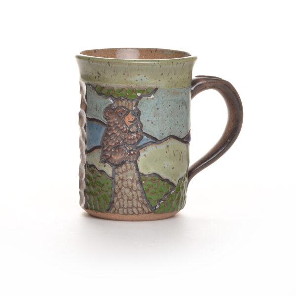 carved handmade ceramic bear mug, nc pottery