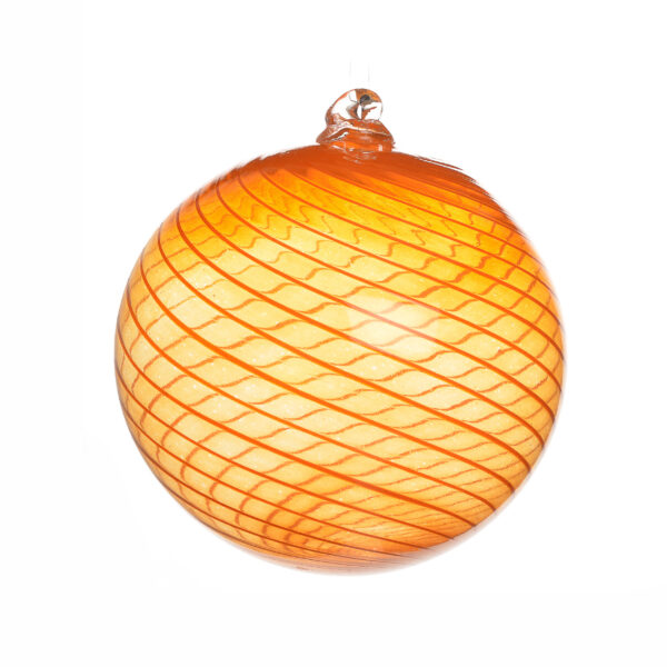 large swirl orange handmade blown glass swirl ornament