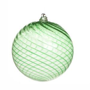 large swirl green handmade blown glass swirl ornament