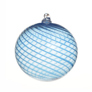 large handmade blown glass ornament with colorful blue swirl