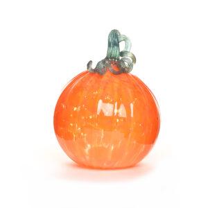 bright orange glass pumpkin, weaverville glass blower, nc glass artist