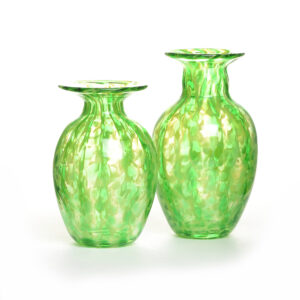 blown glass green bud vases, north carolina glass blowing, nc glass artist