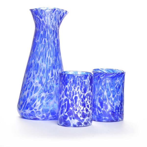cobalt blue and white handmade blown glass carafe and tumbler cup set