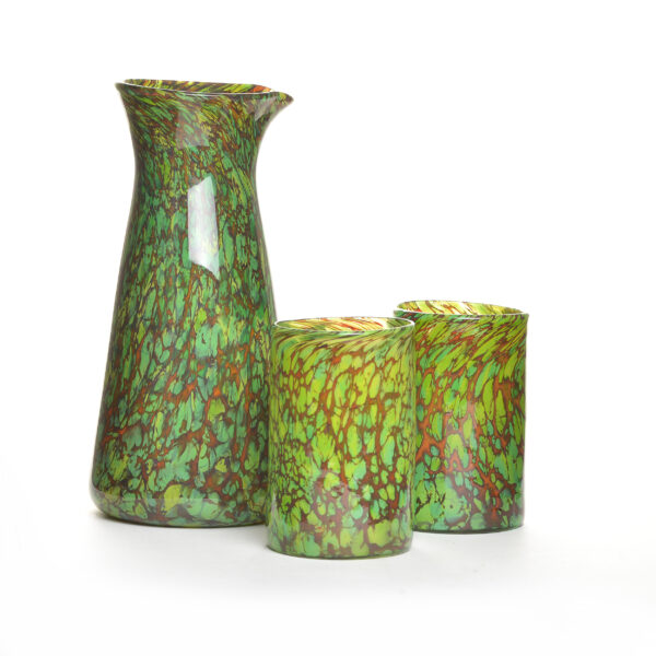 green and brown handmade blown glass carafe and 2 tumbler set