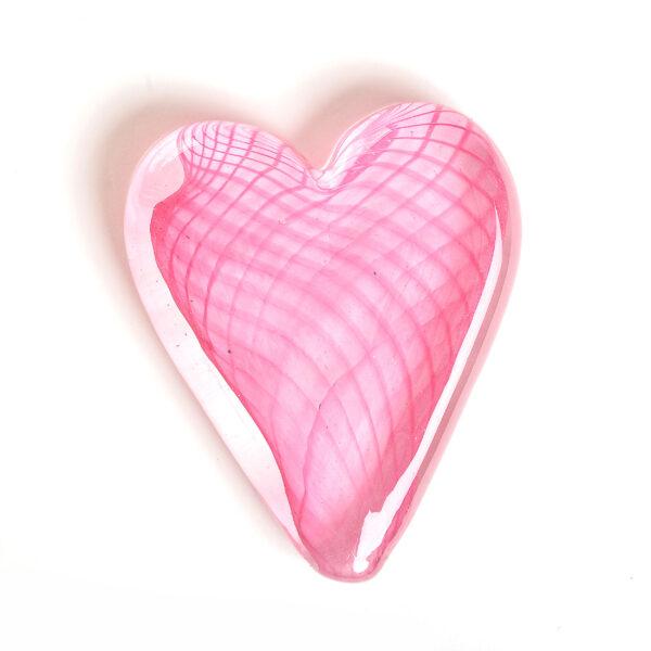 pink handmade glass paperweight.