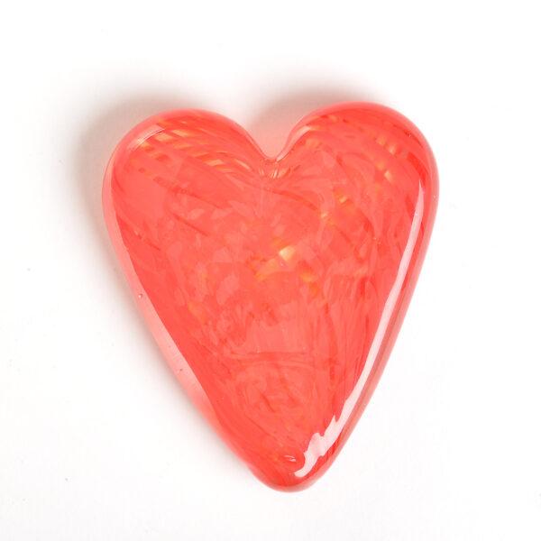 handmade glass red heart paperweight
