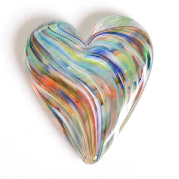 rainbow glass heart handmade paperweight