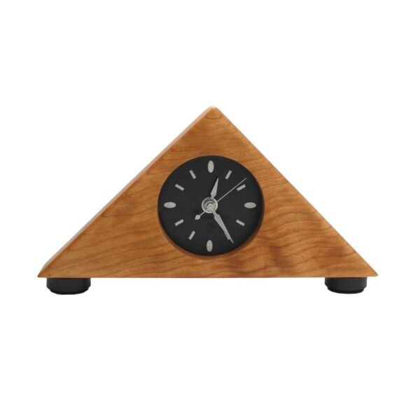 cherry triangle mantle clock with black clock face