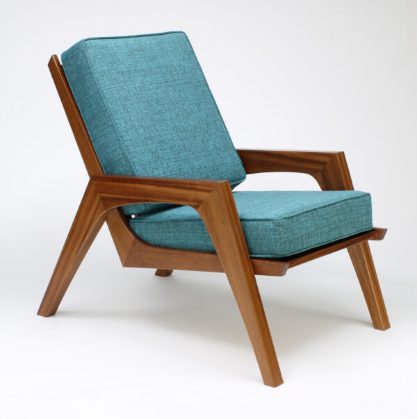 mid-century sapele and maple chair with dark turquoise cushion
