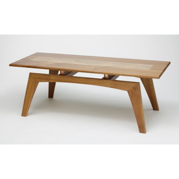 mid-century coffee table made of sapele, ambrosia and maple woods