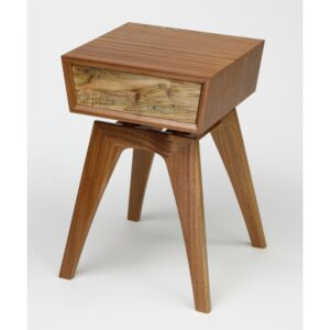 mid-century end table made using sapele ambrosia and copper