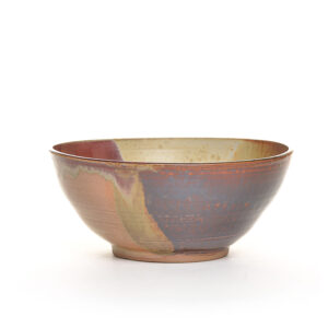large handmade brown and red serving bowl