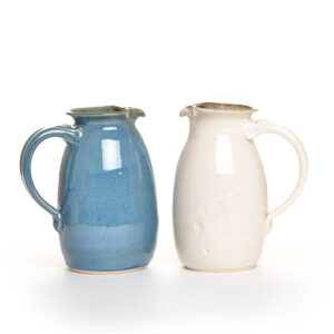 blue or white handmade ceramic pitcher in blue or white, weaverville pottery