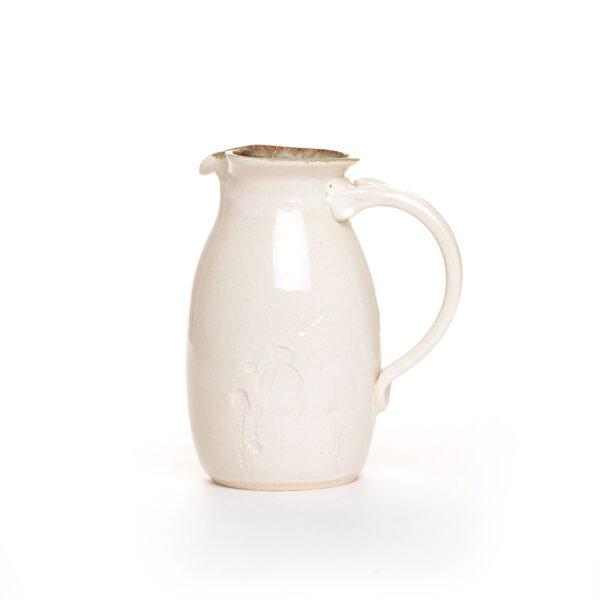 white handmade ceramic pitcher, nc pottery, weaverville potter