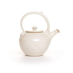 white handmade ceramic teapot