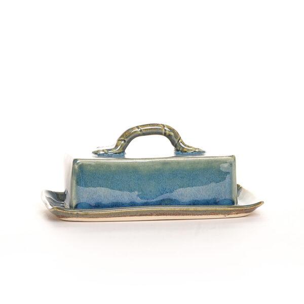 blue handmade ceramic butter dish