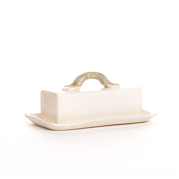 white handmade ceramic butter dish