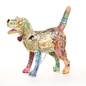 paper mache dog lamp, colorful unique dog lamp,