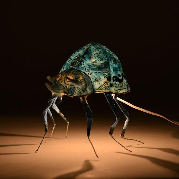 large blue bug handmade lamp