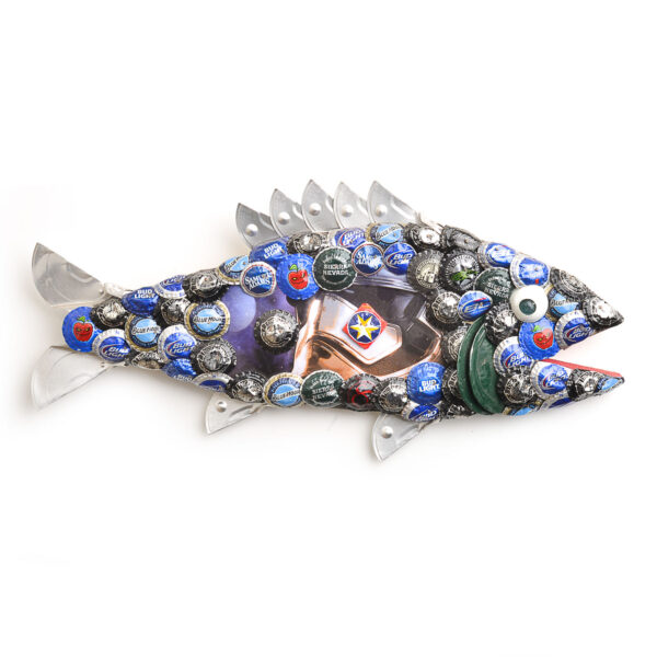 large fish sculpture for the wall made of wood beer caps and cat food lids