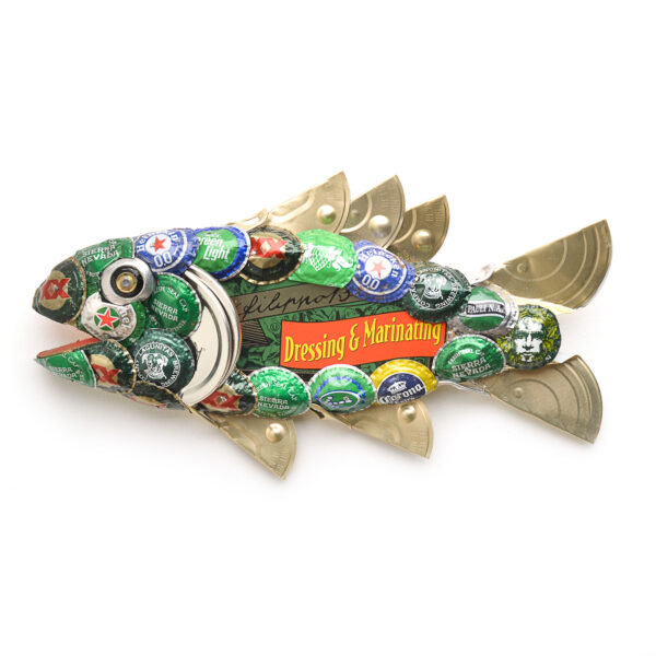 green trout found object fish sculpture with beer bottle caps and cat food lids