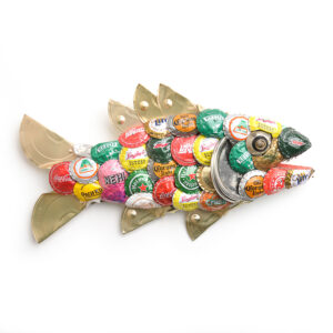 rainbow trout found object fish sculpture with beer bottle caps and cat food lids