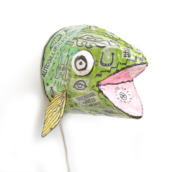 mounted fish head light for the fall, papermached fish head lamp