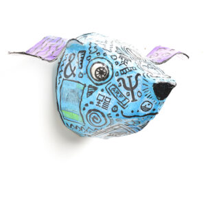 dog wall lamp with flying ears, handmade papermache dog lamp
