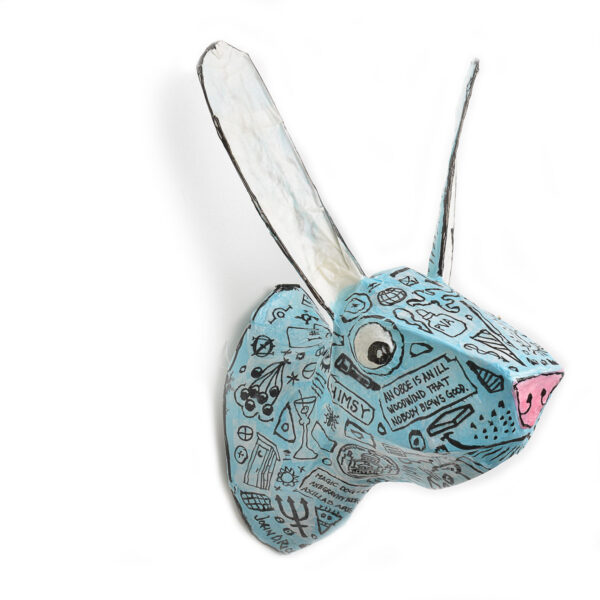 bunny with large ear papermache headlight lamp for the wall, baby room decor, handmade wall light