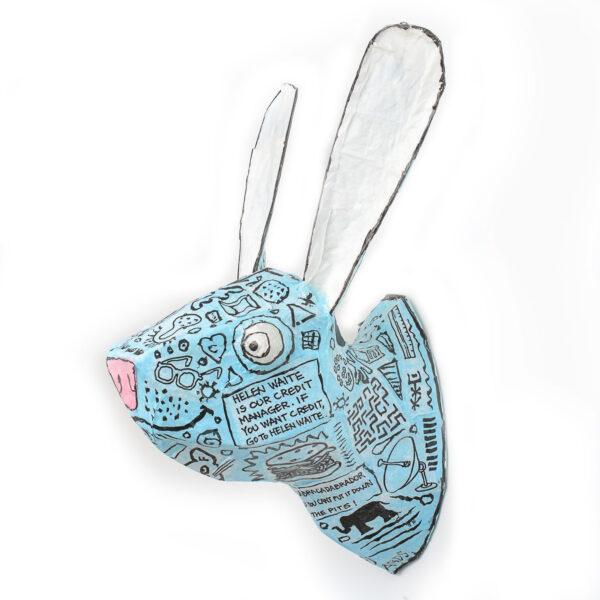 blue bunny handmade wall ligth