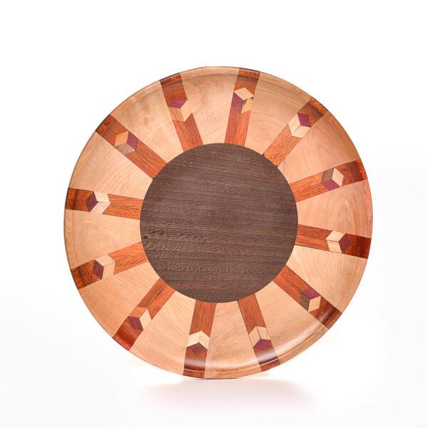 segmented wooden lazy susan