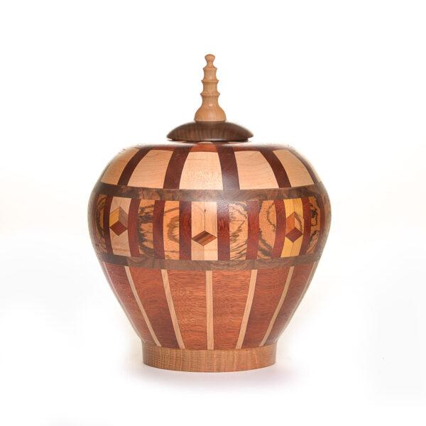 segmented turned wooden urn