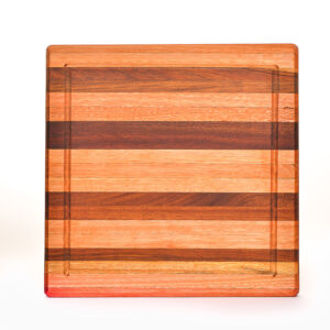 striped thick square cutting board with drip line