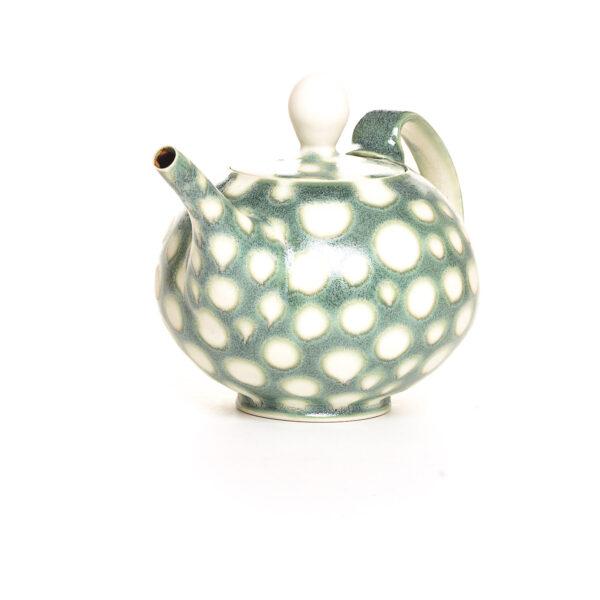 green and white polka dot teapot