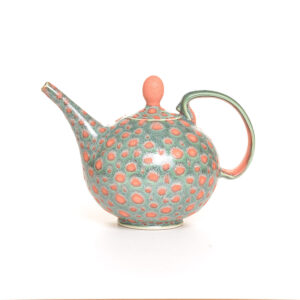 green teapot with orange dots, handmade green teapot, virginia pottery