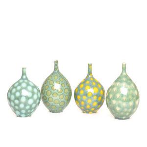 small handmade polka dot ceramic bud vase