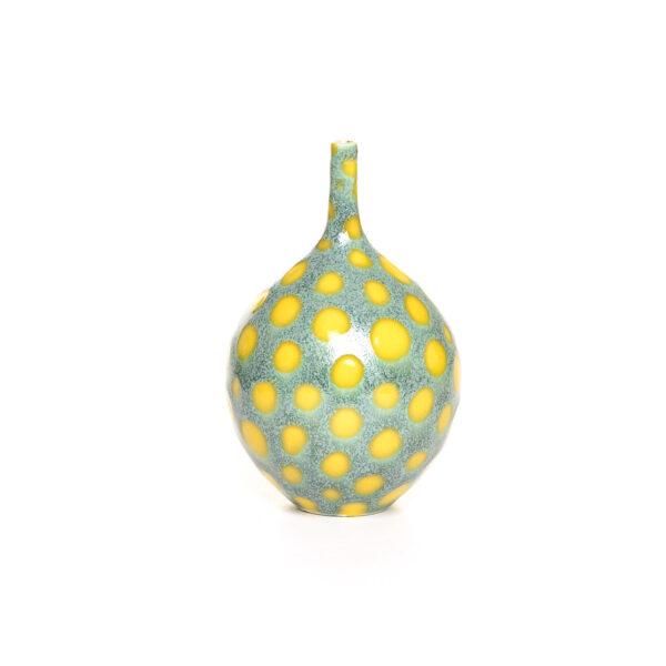 GREEN AND YELLOW POLKA DOT handmade ceramic bud vase, virginia clay artist