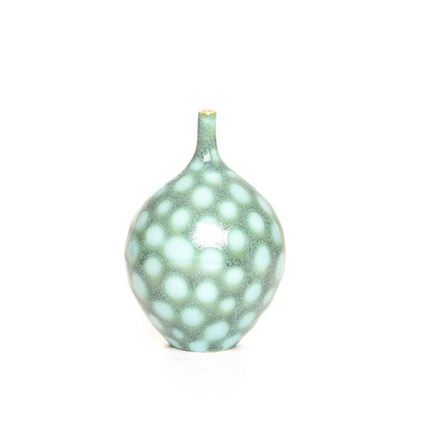 GREEN AND white POLKA DOT handmade ceramic bud vase, virginia clay artist