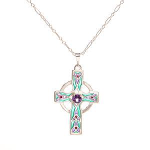 celtic cross plique a jour enamel and silver necklace